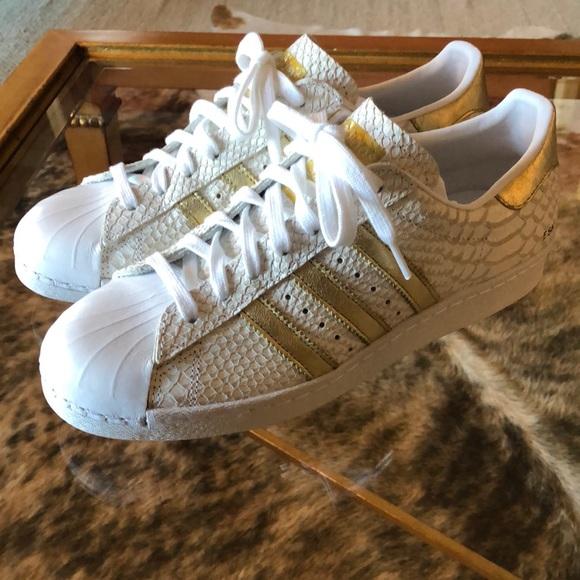 0d1f2af5a564 adidas Shoes - Custom Adidas Gold and Snake Superstars